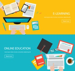 Online education, e learning web banners with people, laptop,  computer, tablet, phone, book, graduation hat, certificate etc.