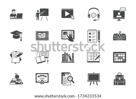 Online education flat icons. Vector illustration included icon as internet, video, audio personal study silhouette pictogram for school, college, university training.