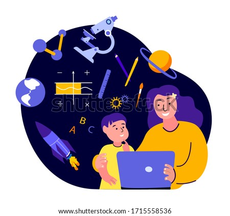 Online Education for Children.Mother,Teacher and Son Student Kid Study,Homework,Tutor.Lesson in Laptop with Family.Digital Learning.Home Schooling.Coach Help Pupil in Internet.Flat vector illustration