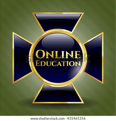 Online Education golden emblem