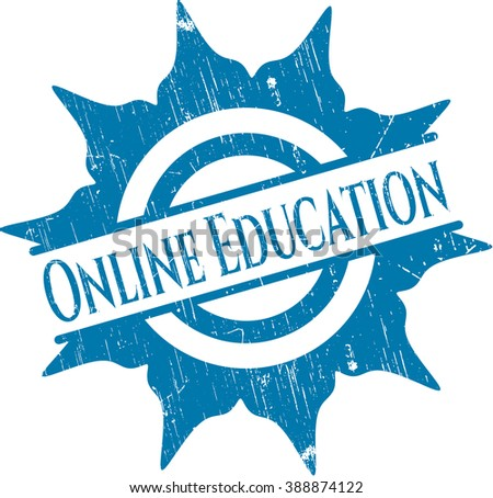 Online Education grunge stamp