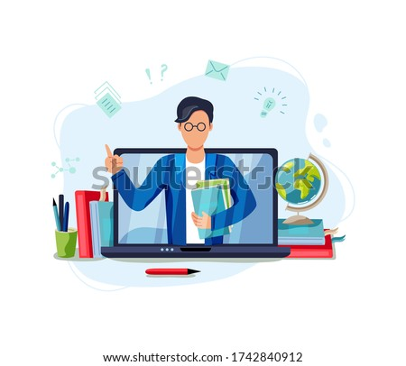 Online education, home schooling concept. Male teacher on laptop screen. Vector illustration isolated on white background. Flat cartoon style design.