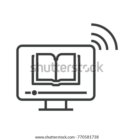 Online education icon of computer with e-learning from e-book or audio book. Share infromation