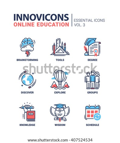 Online Education Icons Set. Brainstorming, tools, wisdom, discover, explore, group, schedule, degree, knowledge.