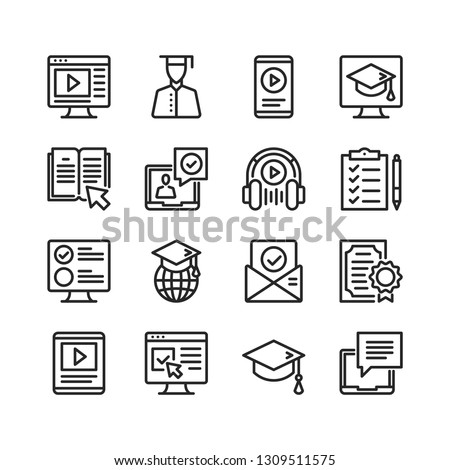 Online education icons set. E-learning concepts. Pixel perfect. Thin line design. Vector line icons set #1309511575