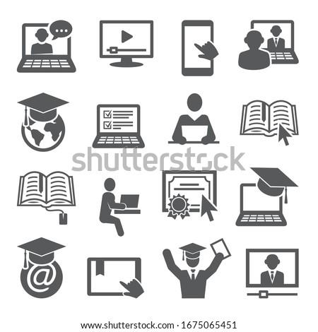 Online education icons set on white background