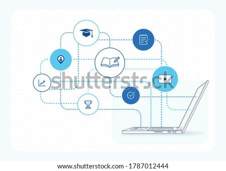 online education illustration: e learning courses, online class platform, education icons, laptop computer side view