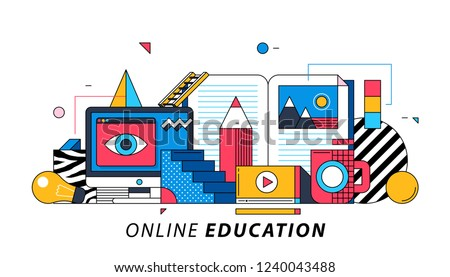 Online Education. Illustration in memphis style. Video tutorials, book, big red pencil.