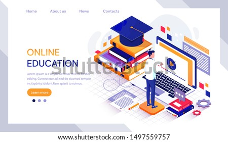 Online education infographic with male student working on a laptop computer surrounded by textbooks and a mortarboard hat from graduation, vector illustration