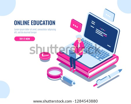 Online education isometric concept, laptop on book, internet course for learning on home, young man working on pc, cartoon flat vector illustration stock photo