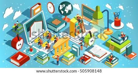 online education isometric flat