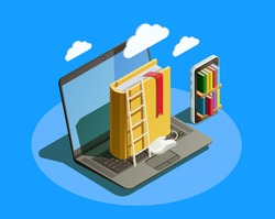Online education isometric icons composition with laptop book smartphone electronic library and cloud computing conceptual images vector illustration