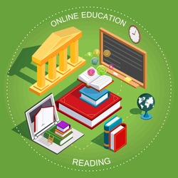 Online education Isometric. The concept of learning and reading books in the library. Flat design. Vector illustration.