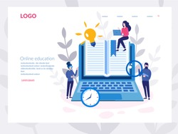 Online education, Laptop with a book Concept for web page, banner, presentation, social media, documents, cards, posters. Vector illustration E-books, internet courses and graduation process, working