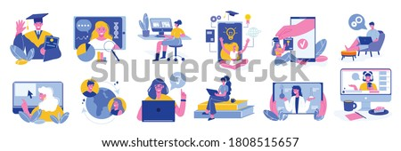 Online education learning set of isolated icons and characters of teachers and tutors with computer images vector illustration Foto stock ©