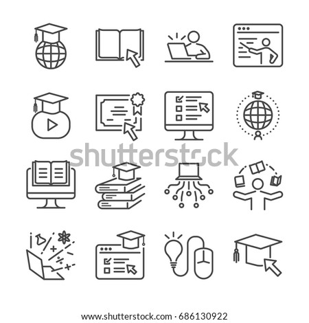 Online education line icon set. Included the icons as e-learning, books, student, course, school and more.