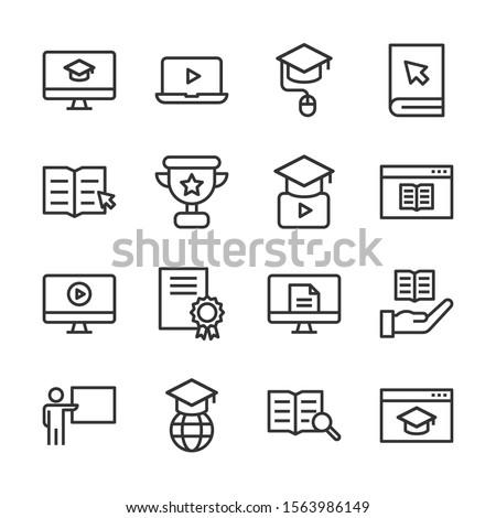 Online education line icon set vector illustration