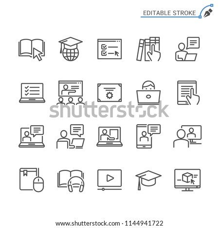 Online education line icons. Editable stroke. Pixel perfect. #1144941722