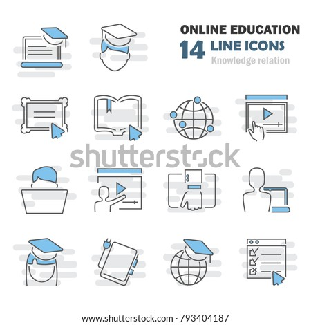 Online education line icons set for web and mobile design