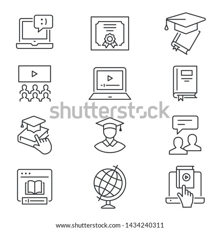 Online education line icons. Set of education, webinar, distance, student, training and more. Vector illustration isolated for graphic and web design. Editable stroke.