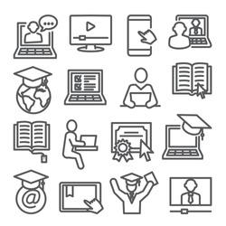 Online education line icons set on white background