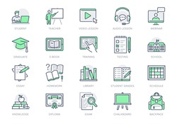 Online education line icons. Vector illustration included icon as internet, video, audio personal study outline pictogram for school, colledge, university trainig. Green color, Editable Stroke