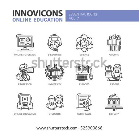 Online Education - modern vector thin line design icon set. Books, university, tutorials, science, learning, students, professor, group, library, certificate, lessons