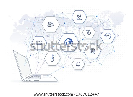 online education network illustration: e-learning classes, education icons, e commerce platform, laptop computer side view, global network connection on world map background