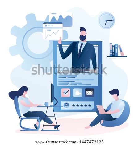 Online education or business training. Financial video course with mentor and business people with gadgets learning. Adult characters in trendy style,trendy style vector illustration