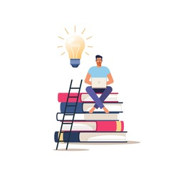 Online education or courses. Young man with laptop sits on books. Vector concept of distance learning.