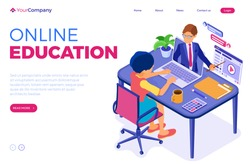 Online education or distance exam with isometric character internet course e-learning from home girl online studying on laptop with teacher isometric education landing page vector illustration