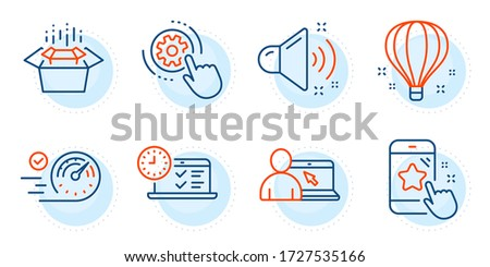 Online education, Packing boxes and Air balloon signs. Star rating, Loud sound and Cogwheel settings line icons set. Online test, Speedometer symbols. Phone feedback, Music. Technology set. Vector ストックフォト ©