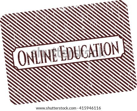 Online Education rubber grunge seal