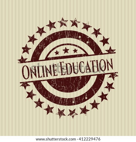 Online Education rubber stamp with grunge texture