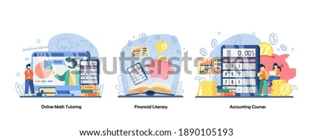 Online education, saving money, online courses icon set. Online math Tutoring, Financial Literacy, Accounting Courses.Vector flat design isolated concept metaphor illustrations Сток-фото ©