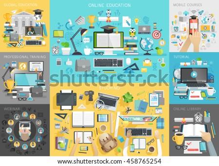 online education set. mobile...