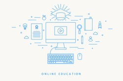 ONLINE EDUCATION THIN FLAT DESIGN
