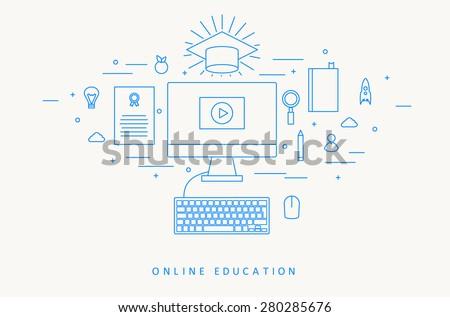 ONLINE EDUCATION THIN FLAT DESIGN