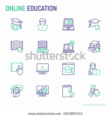 Online education thin line icons set: online course, webinar, e-book, video conference, home studying, wise owl in draduation cup. Modern vector illustration.