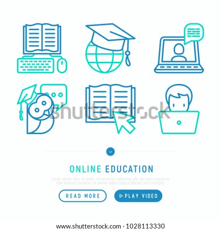 Online education thin line icons set: online course, webinar, e-book, video conference, home studying, wise owl in graduation cup. Modern vector illustration, web page template.