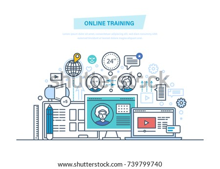 Online education, training courses, e-learning, distance internet trainings, webinars, online conference, communications, lectures. Laptop on a table. Illustration thin line design of vector doodles.
