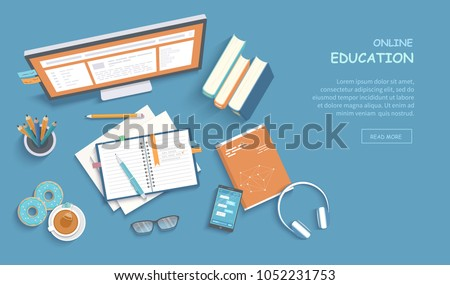 Online education, training, courses, e-learning, distance learning, exam preparation, home schooling. Web banner background. Workplace with monitor, books, notepad, pencil, tea donut. Top view Vector