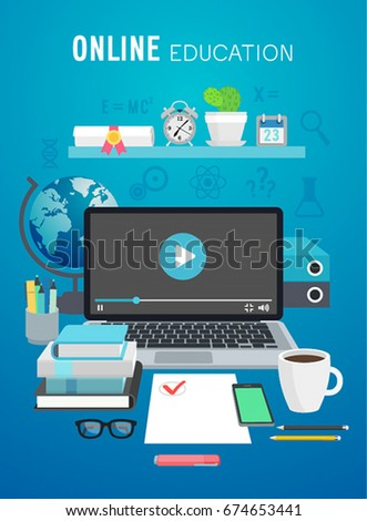 Online Education, tutorial concept. Vector illustration.