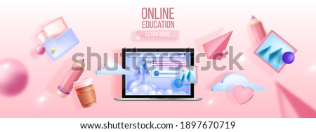 Online education vector concept, e-learning, computer training, remote courses, webinar web background. Digital internet video tutorial, lecture, classes 3D banner. Online education, study with laptop