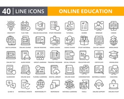 Online education vector lines icon set. Related of E-learning and digital learning. Thin line quality icons for web element