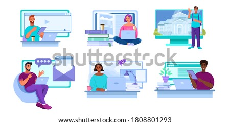 Online education vector set with diverse people working and studying in internet at home. Virtual university and school concepts with multinational students. Online education and career flat designs Foto stock ©