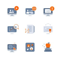 Online education, video course, global community, exam preparation, distance learning, science study, scholarship concept, graduation degree certificate, writing test, vector flat icon set