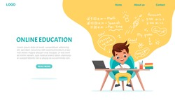 Online education website template. E-learning concept banner. Cute schoolboy sits at table and studies online with laptop. Vector flat cartoon illustration with hand-drawn doodle elements