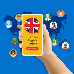 online English Learning app on mobile phone screen with get started button with British flag speech bubble, vector. Human 3d hand holding cellphone on world map, diverse international group of people avatars
