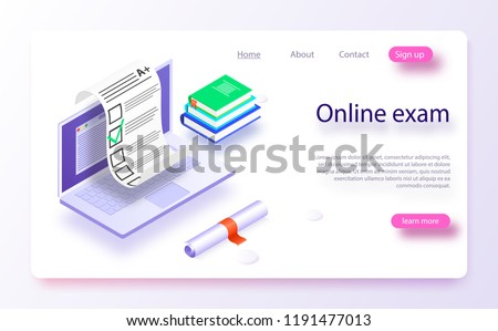 Online exam computer web app. Isometric laptop with paper document printing from screen. Isometric vector concept online exam, questionnaire form, online education survey. Online exam test with laptop